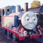 Thomas the Tank Engine and two admirers