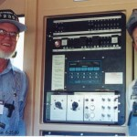Jim Baker and Mike Edwards in the cab of BNSF #4419