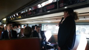 While on our way to Tecate, President Diana Hyatt gave a brief history of the SD&A to railroad officials.