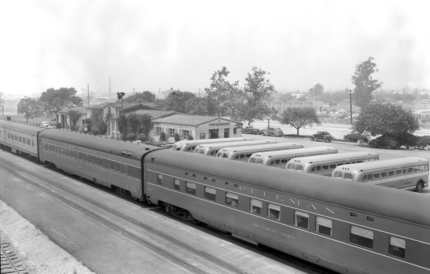 Imperial Bird shown as delivered in two tone Pullman Grey livery. Taken in 1949 at East Los Angeles.