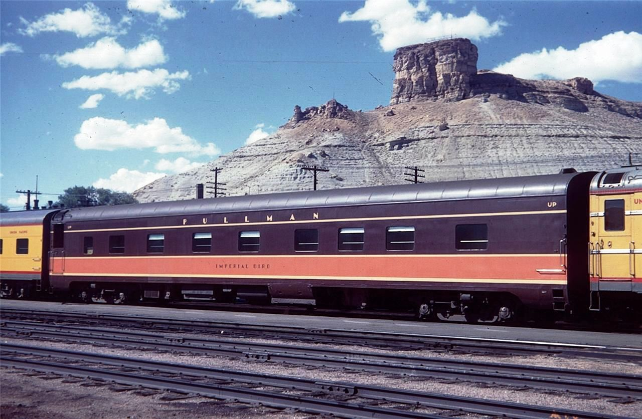 Shown in Green River in 1959, Imperial Bird was repainted several times during the UP's ownership. The car ran winters on the IC and summers with UP; we figure the car was repainted each time it was reassigned.