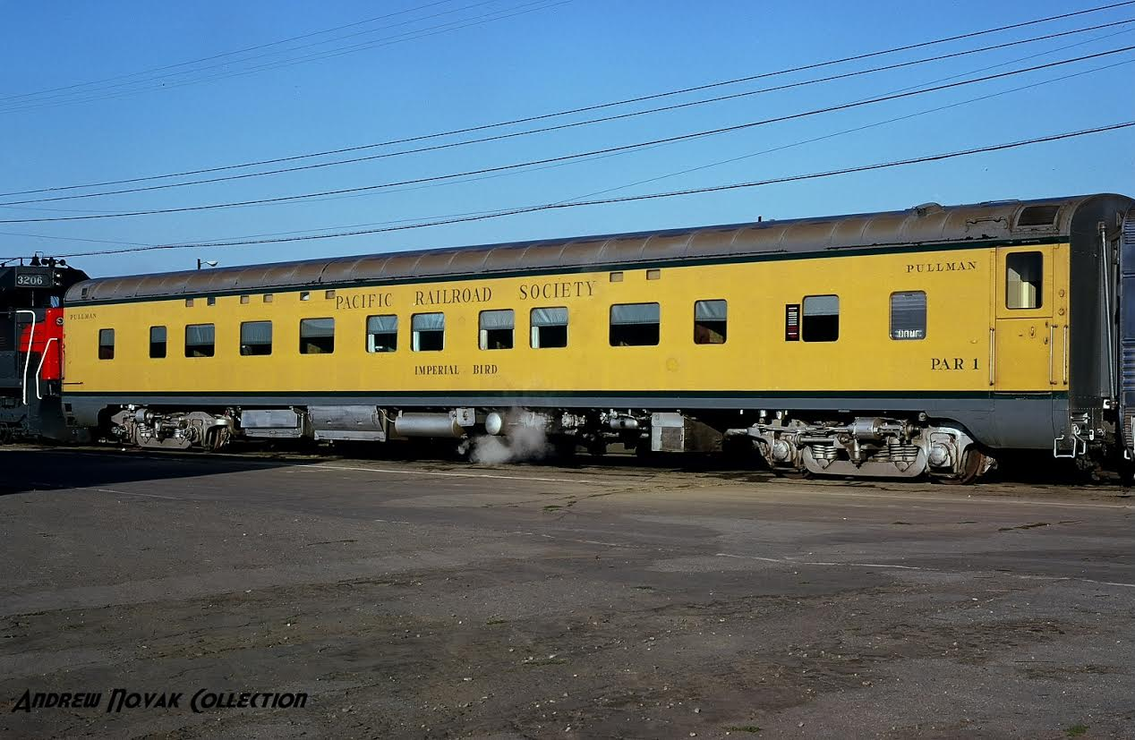 The Bird, shown here in the early 1970s, was painted in PRS's Yellow and Green livery by PRS members with help from UP's painters from East Yard for use on excursion trains - Andrew Novak Collection